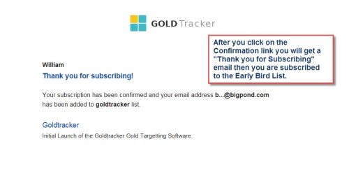 GoldTracker optin success