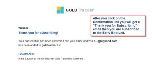 GoldTracker optin success