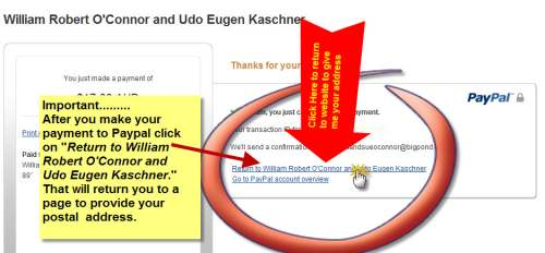 Click Return to William Robert O'Connor and Udo Kaschner to provide your address