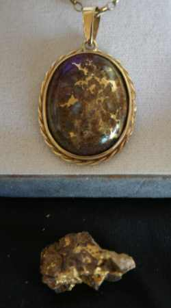 Ironstone Specimen Gold Nugget and Brooch