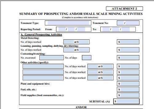 Form 5 Metal Detector Expenditure.