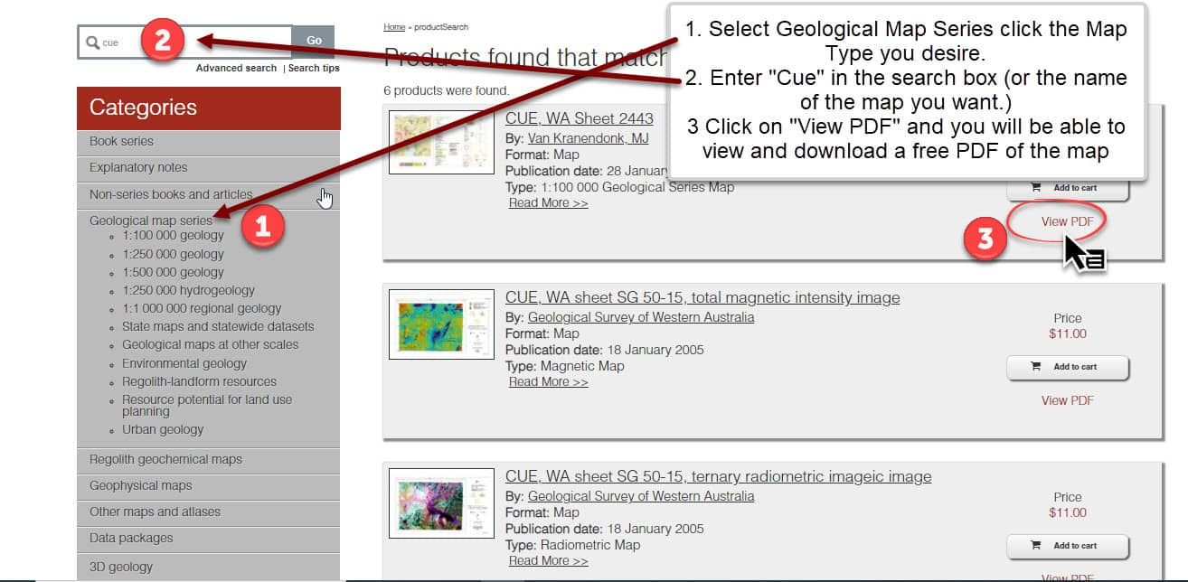 Geological Maps Online Select Type and Name of Map to download then click on View PDF.