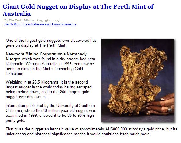 The Normandy Gold Nugget of 25.5kg.