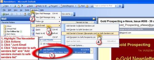 Whitelist e-Gold Newsletter in MS Outlook 2003